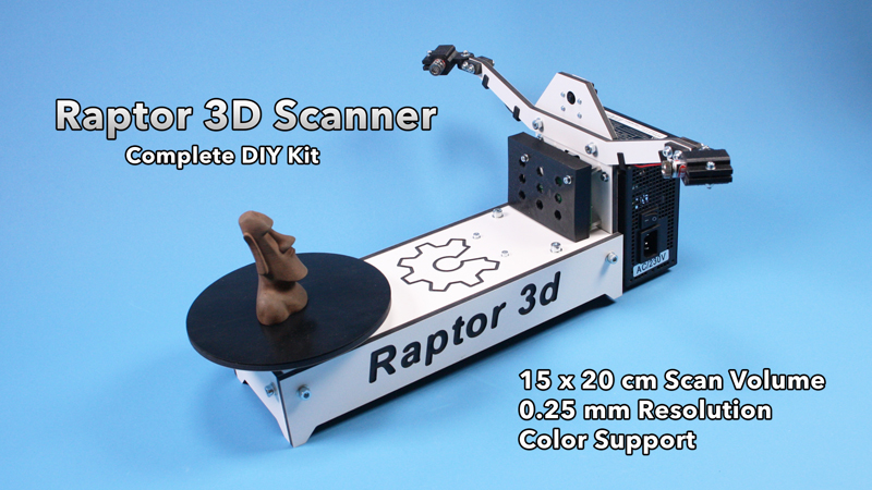 Raptor 3D scanner color printer full 360 diy kit.jpg